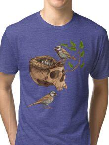 colorful illustration of birds making a nest in animal skull Tri-blend T-Shirt