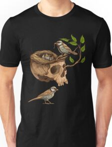 colorful illustration of birds making a nest in animal skull Unisex T-Shirt