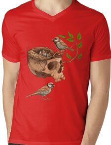 colorful illustration of birds making a nest in animal skull Mens V-Neck T-Shirt