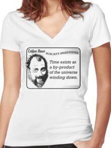 Time exists as a by-product of the universe winding down Women's Fitted V-Neck T-Shirt