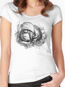 Baby hedgehog sleeping Women's Fitted Scoop T-Shirt