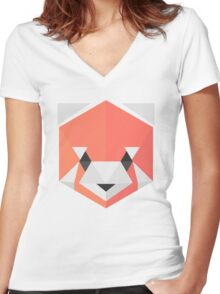 Red Panda (blue) Women's Fitted V-Neck T-Shirt