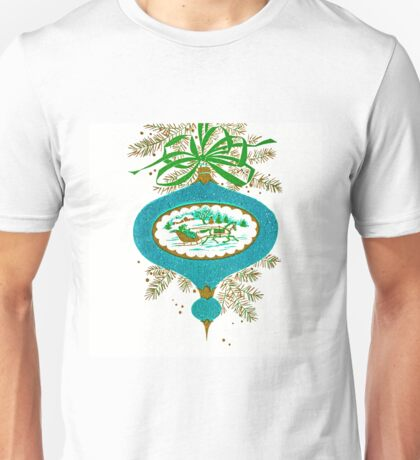 Cadillac Christmas in Teal - Vintage, Card, Sleigh, Ride, Horse, Couple, Romantic, Love, Retro, Sweet, Glitter, Blue, Green Unisex T-Shirt