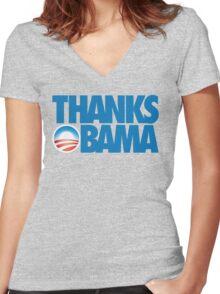 Thanks Obama Women's Fitted V-Neck T-Shirt