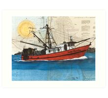 LADY CECELIA Fishing Boat Cathy Peek Nautical Chart Map Art Print