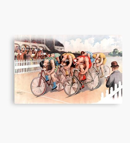 Vintage Bicycle Race Scene Canvas Print