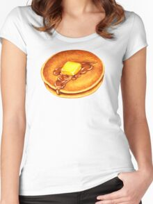 Pancakes Pattern - Blue Women's Fitted Scoop T-Shirt
