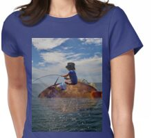 Fishing From A Giant Fish Womens Fitted T-Shirt