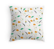 Bright colorful pattern with different tools for fishing  Throw Pillow