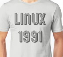 Linux 1991 - Year of 1st Release Black Tri-Linear Font Design Unisex T-Shirt