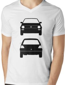 VW Golf MK2 Front and Rear Black Mens V-Neck T-Shirt
