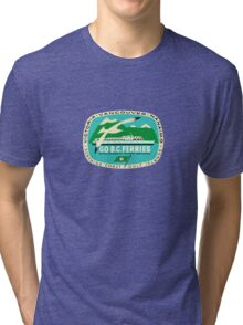 BC Ferries Victoria Vancouver Vintage Travel Decal Tri-blend T-Shirt