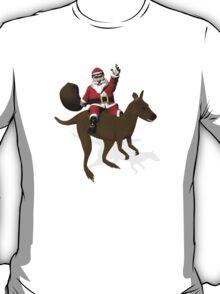 Santa Claus Riding A Kangaroo T-Shirt