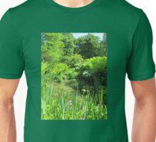 Pond and Irises, Isabella Plantation, Richmond Park, Surrey Unisex T-Shirt