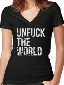unfuck the world Women's Fitted V-Neck T-Shirt