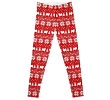Samoyed Silhouettes Christmas Sweater Pattern Leggings