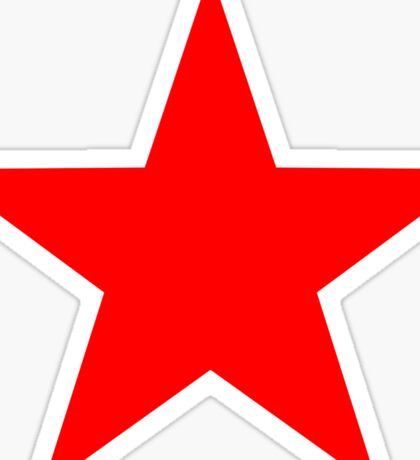 Five-pointed and Filled Red Star Design on Black/Dark Sticker