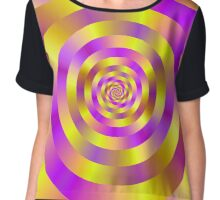 Yellow and Pink Spiral Rings Chiffon Top