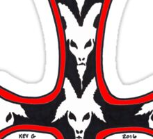 INVERTED RED GOAT CROSS Sticker