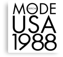 Depeche Mode : USA 1988 - 2 - Black Canvas Print