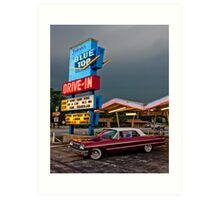 Blue Top Drive-In Art Print