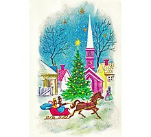 """""""Retro Romance"""" - Vintage Christmas Card, Sleigh, Ride, Love, Horse, Carriage, Couple, Winter, Wonderland, Tree, Lights, Pink, Blue, Yellow, Green, Red Photographic Print"""