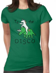 unicorn dinosaurs  to the disco Womens Fitted T-Shirt