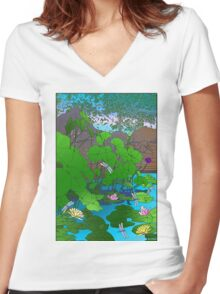 Amazing Lotus and Lilly Water Garden and dragonfly. Poster, Art print, Clock Women's Fitted V-Neck T-Shirt