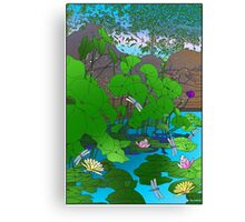 Amazing Lotus and Lilly Water Garden and dragonfly. Poster, Art print, Clock Canvas Print