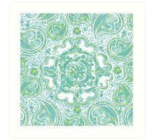Paisley Mandala - Blue & Green Art Print