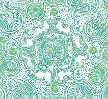 Paisley Mandala - Blue & Green by katherinepaulin