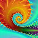 Toothed Spiral in Turquoise and Gold by Objowl