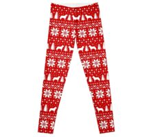 Siberian Husky Silhouettes Christmas Sweater Pattern Leggings