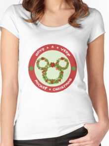 Mickey Christmas Holiday Design Women's Fitted Scoop T-Shirt