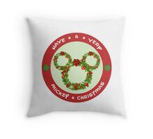 Mickey Christmas Holiday Design Throw Pillow