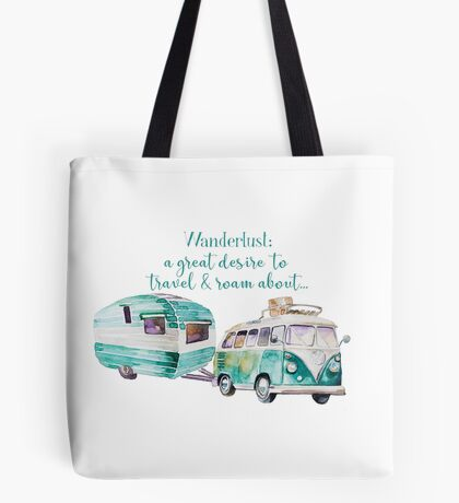 Wanderlust VW and Vintage Caravan Tote Bag