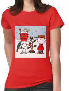 CHARLIE BROWN PEANUTS SNOOPY XMAS MATA 5 Womens Fitted T-Shirt