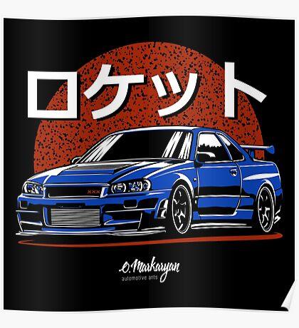 Rocket. Skyline R34 GTR (blue) Poster