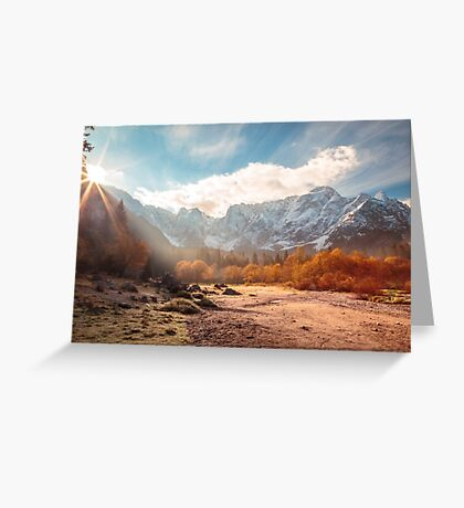 autumn sunrinse in the valley Greeting Card