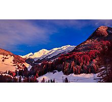 autumn sunset in the alpine valley Photographic Print