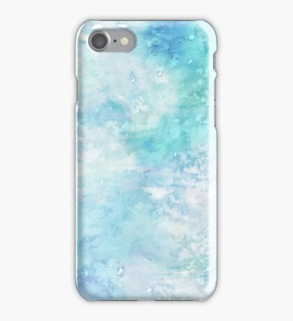 Winter snow watercolour in blue and turquoise ice, snow and water blue shades iPhone Case/Skin