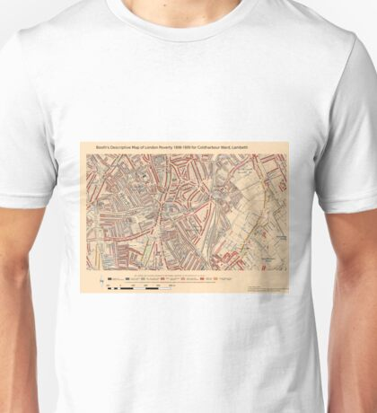 Booth's Map of London Poverty for Coldharbour ward, Lambeth Unisex T-Shirt