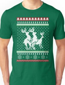 Ugly Christmas Party Sweater Humping Reindeer Funny Gift Unisex T-Shirt