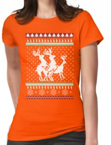 Ugly Christmas Party Sweater Humping Reindeer Funny Gift Womens Fitted T-Shirt