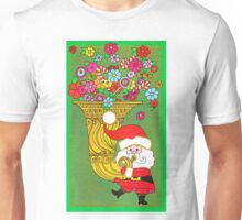 """""""Tubby Tuba Claus"""" - Vintage Christmas Card, Green, Retro, Gold, Red, Old, Santa, Saint, St., Nick, Nicholas, Flowers, Floral, Happy, Holiday, Holidays, Time, Xmas Unisex T-Shirt"""