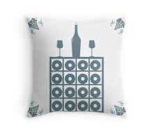 Stylized icon of a colored wine rack, bottle of wine, wine glasses and grapes  Throw Pillow