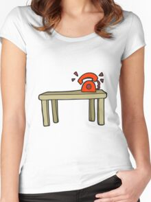 cartoon phone ringing on desk Women's Fitted Scoop T-Shirt