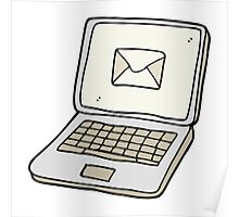 cartoon laptop computer with message symbol on screen Poster
