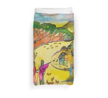 Village in the steppe Duvet Cover