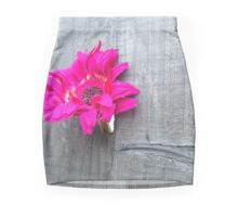 Pink flower on wood Mini Skirt